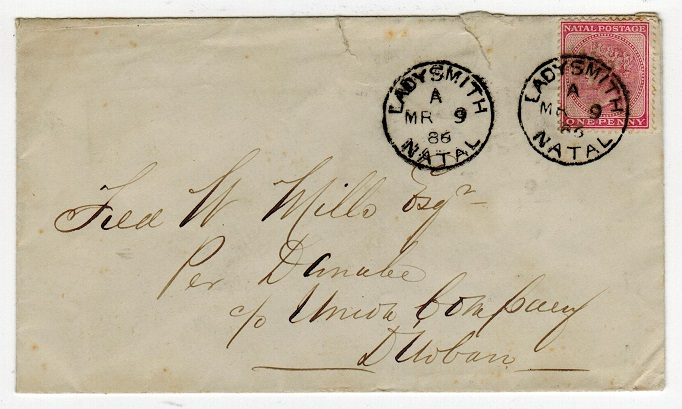 NATAL - 1886 1d rate cover to Durban used at LADYSMITH.