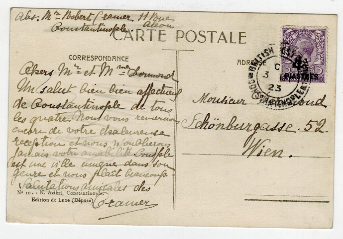 BRITISH LEVANT - 1923 4 1/2p on 3d rate postcard to Austria used at CONSTANTINOPLE.
