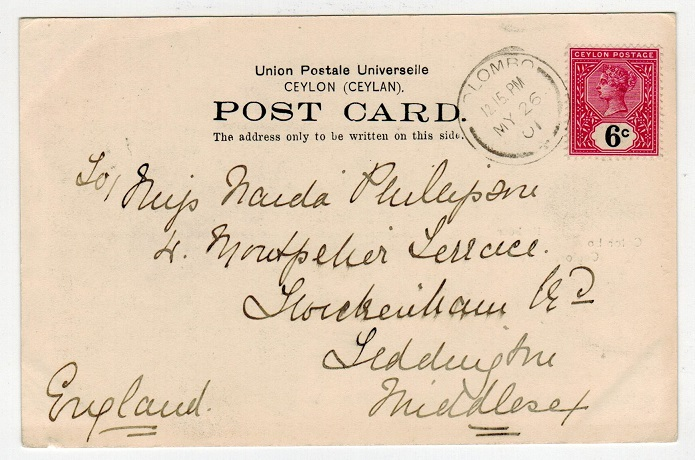 CEYLON - 1901 6c rate postcard to UK used at COLOMBO.