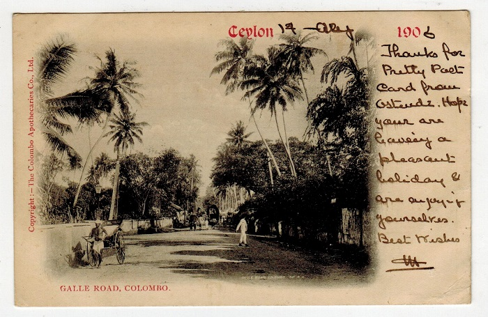 CEYLON - 1906 6c rate postcard addressed to UK used at COLOMBO.