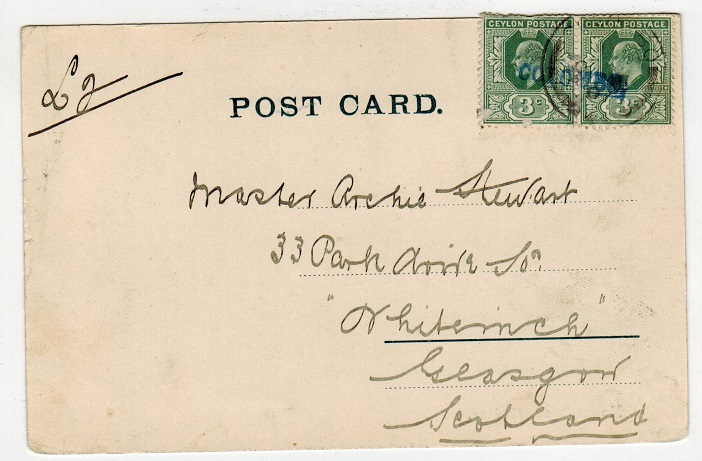 CEYLON - 1907 6c rate postcard to UK used at COLOMBO.