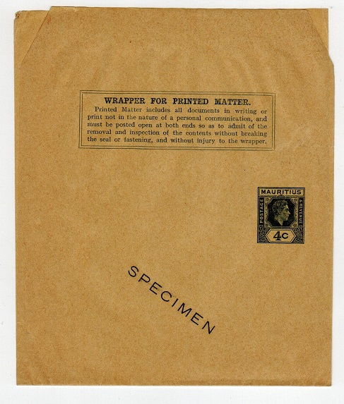 MAURITIUS - 1938 4c dark green postal stationery wrapper unused SPECIMEN.  H&G 7.