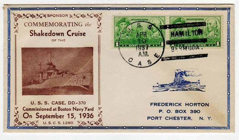 BERMUDA - 1937 U.S.S.CASE illustrated maritime cover to USA.