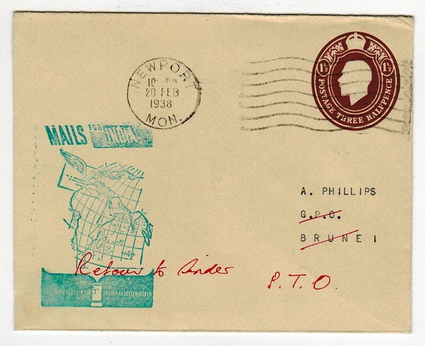 BRUNEI - 1938 special 1 1/2d rate inward cover from UK with manuscript RETURN TO SENDER.