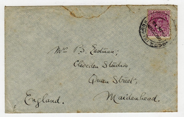 COOK ISLANDS - 1915 1 1/2d rate cover to UK used at RAROTONGA.