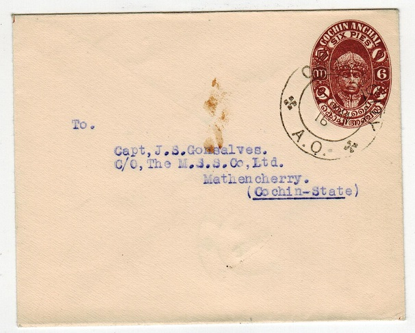 INDIA (Cochin) - 1936 6p chestnut brown PSE addressed locally and used at COCHIN CITY. H&G 18a.