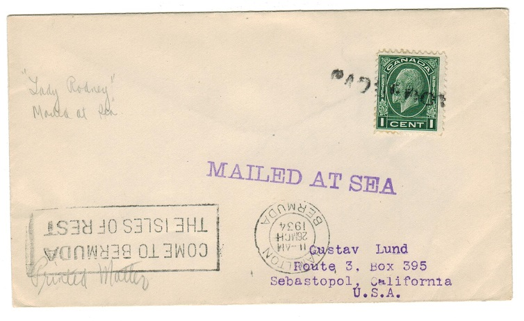 BERMUDA - 1934 MAILED AT SEA paquebot cover to USA.