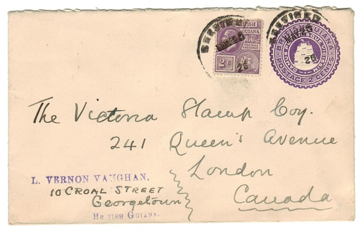BRITISH GUIANA - 1923 2c violet PSE uprated to Canada and used at BELFIELD.  H&G 6.
