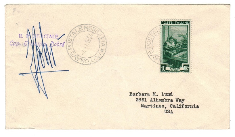 CYPRUS - 1954 MOTONAVE POSTALE MESSAPIA maritime cover addressed to USA.