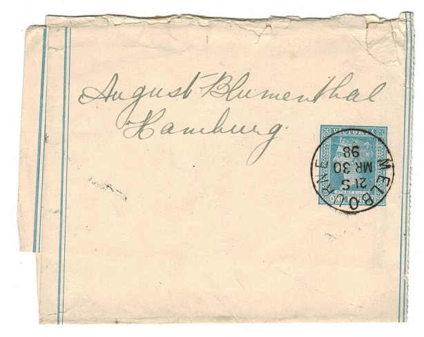 AUSTRALIA (Victoria) - 1895 1d blue postal stationery wrapper used at MELBOURNE.  H&G 18.