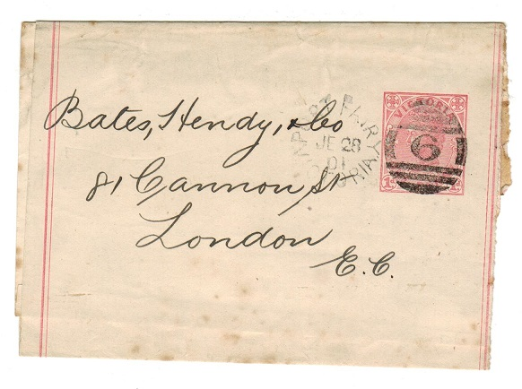 AUSTRALIA (Victoria) - 1901 1d rose postal stationery wrapper used at PORT FAIRY.  H&G 24.