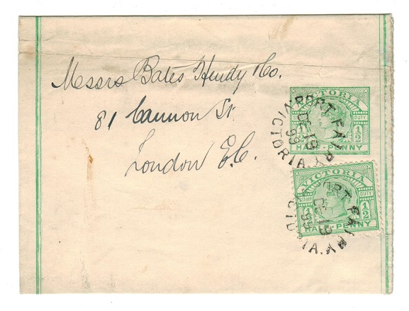 AUSTRALIA (Victoria) - 1899 1/2d emerald postal stationery wrapper used at PORT FAIRY.  H&G 19.