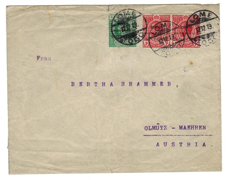 TOGO - 1919 cover addressed to Austria used at LOME.