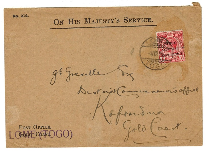 TOGO - 1915 1d rate OHMS use cover to Gold Coast used at LOME.