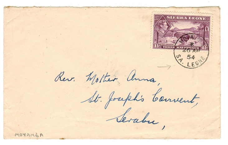 SIERRA LEONE - 1954 KGVI 1 1/2d local cover used at MOYAMBA.