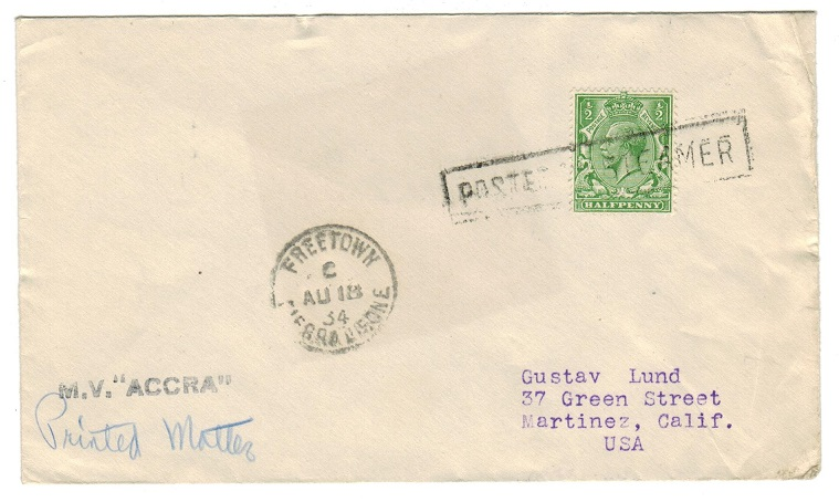 SIERRA LEONE - 1934 M.V. ACCRA maritime cover addressed to USA.