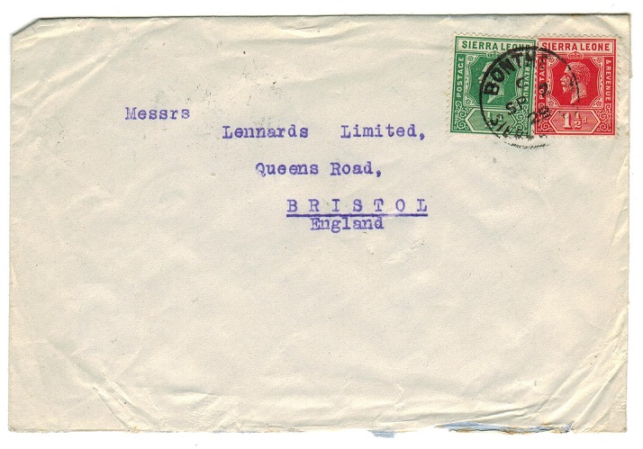 SIERRA LEONE - 1929 2d rate cover to UK used at BONTHE.