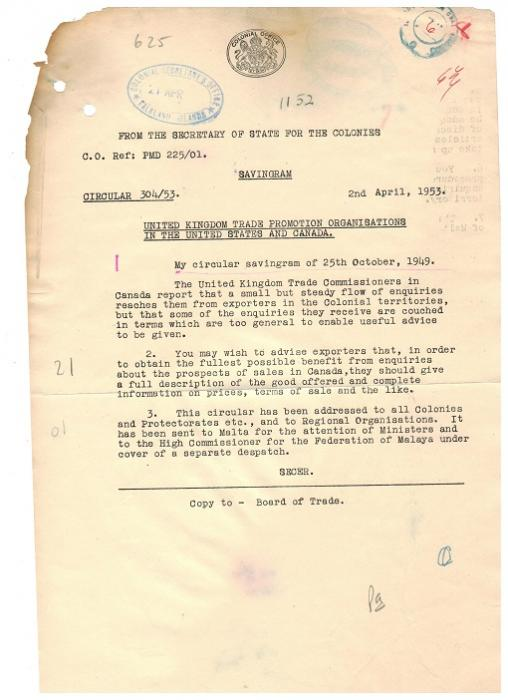 FALKLAND ISLANDS - 1953 colonial letter regarding