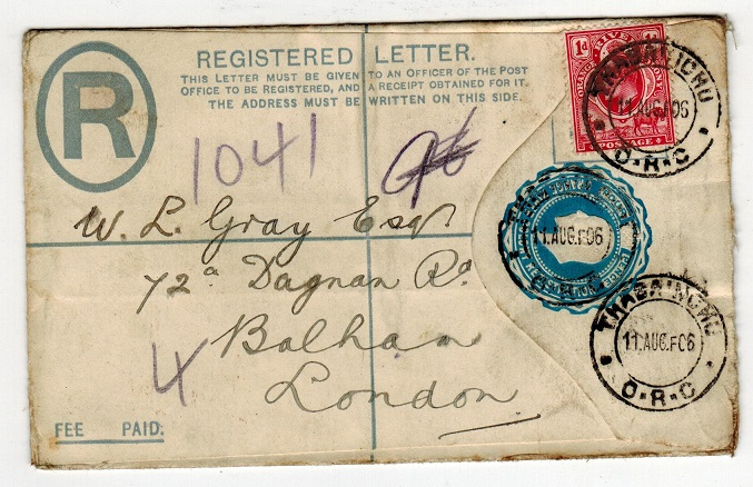 ORANGE RIVER COLONY - 1902 4d RPSE to UK uprated with 1d and used at THABA
