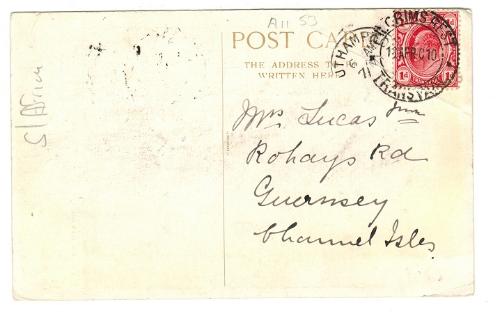 TRANSVAAL - 1910 1d rate postcard to Guernsey used at PILGRIMS REST.
