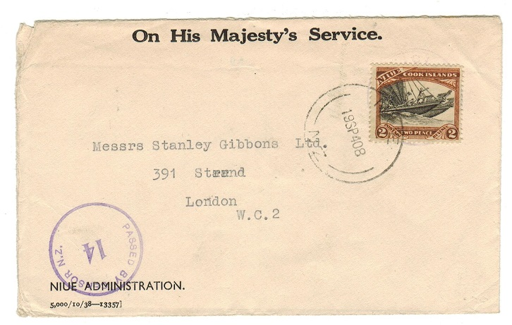 NIUE - 1940 censored OHMS envelope to UK with 2d used at NIUE.