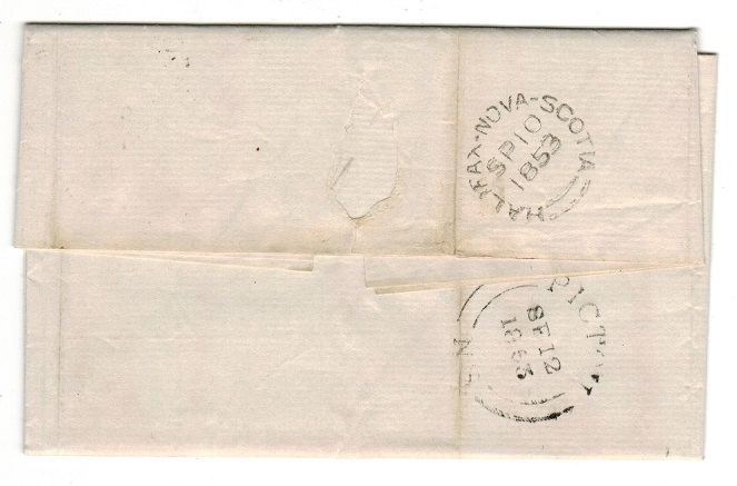 NOVA SCOTIA - 1853 entire with 3d deep blue used at HALIFAX.