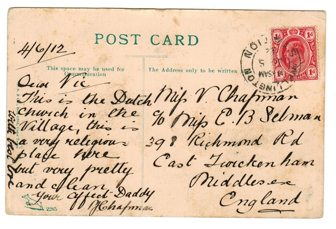TRANSVAAL - 1912 1d rate postcard to UK used at WELLINGTON STATION.