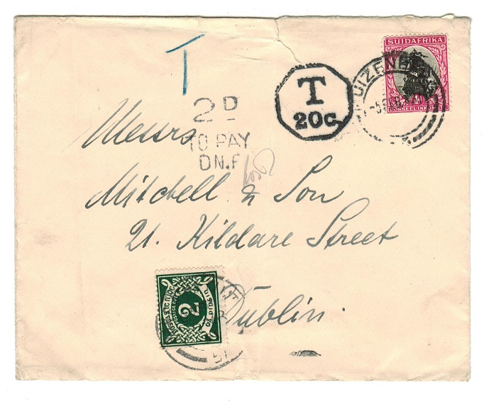 IRELAND - 1931 underpaid inward cover from South Africa with 2d postage due added.