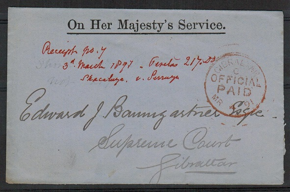 GIBRALTAR - 1891 OHMS wrapper cancelled by GIBRALTAR/OFFICIAL/PAID cds in red.