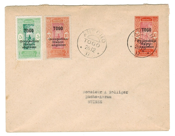 TOGO (French) - 1917 10c PSE to Switzerland used at ANECHO.  H&G 2.