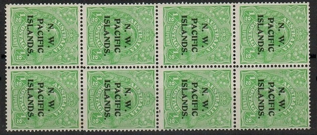 NEW GUINEA (N.W.P.I.) - 1915 1/2d green in a fine U/M block of eight with