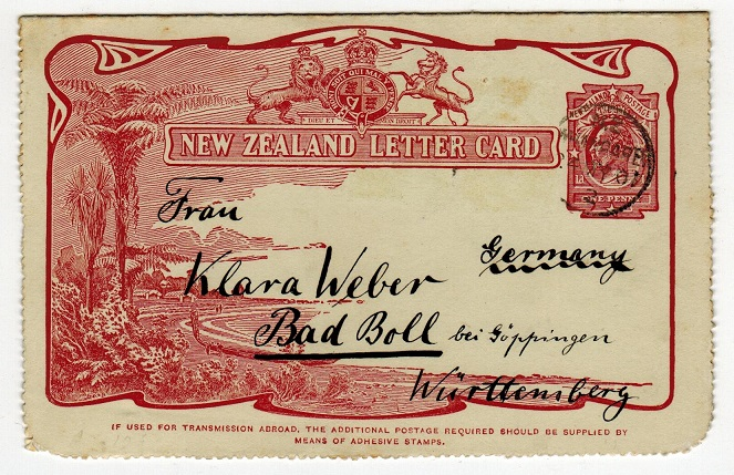 NEW ZEALAND - 1905 1d claret illustrated letter card used at WHANGAREI.  H&G 6.
