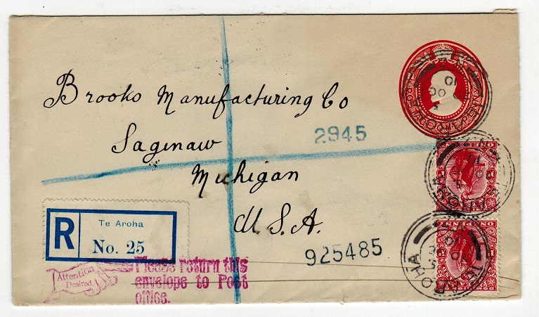 NEW ZEALAND - 1908 1d bright red PSE uprated and registered to USA and used at TE AROHA.  H&G 10.