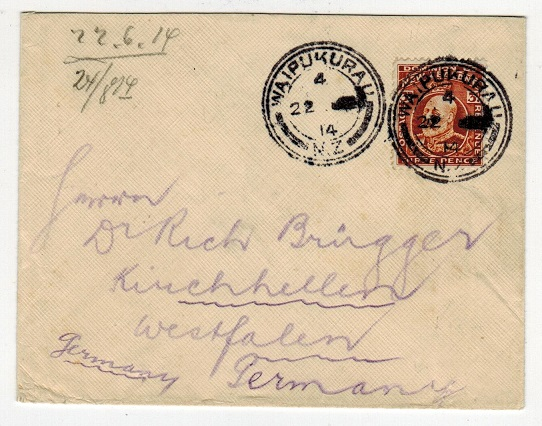 NEW ZEALAND - 1914 registered cover to Germany bearing 3d