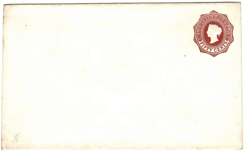 MAURITIUS - 1878 50c reddish brown PSC unused. H&G 11.