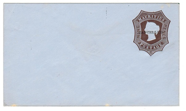 MAURITIUS - 1862 9d dark brown on bluish PSE unused handstamped CANCELLED.