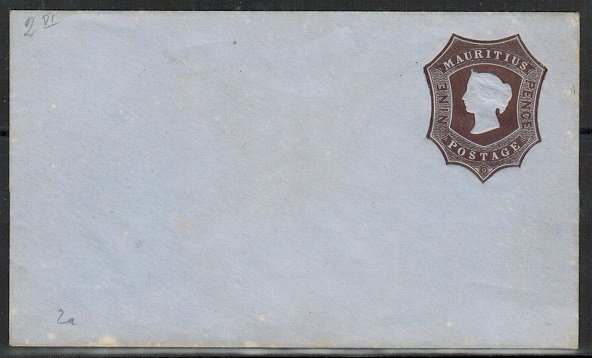 MAURITIUS - 1862 9d dark brown on bluish PSE unused with TYPE 1 embossing.  H&G 2.