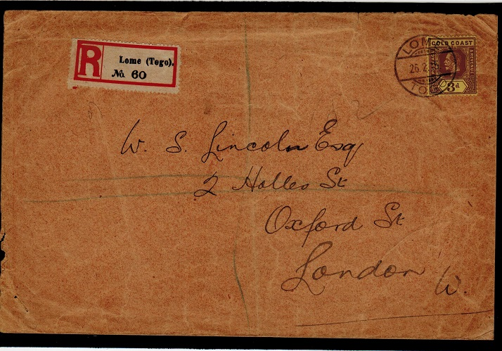 TOGO - 1915 registered cover to UK with 3d un-overprinted Gold Coast adhesive used at LOME.