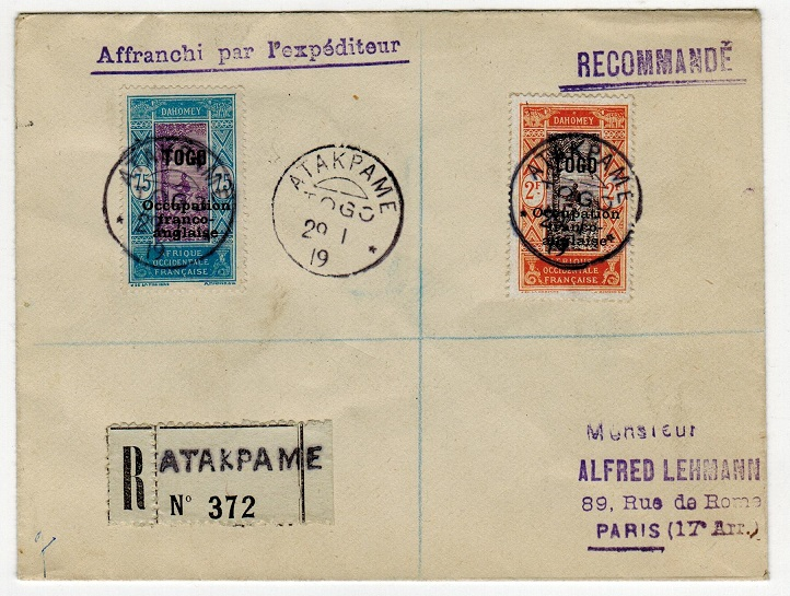 TOGO (French) - 1919 registered cover to France used at ATAKPAME.
