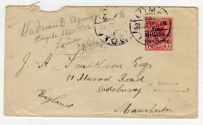 TOGO - 1918 1d rate cover to UK used at LOME.
