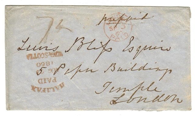 CANADA (Nova Scotia) - 1860 stampless cover to UK struck HALIFAX/PAID/NOVA SCOTIA.