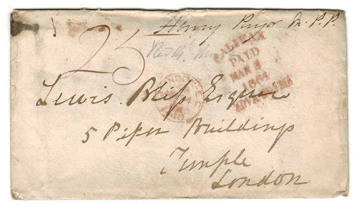 CANADA (Nova Scotia) - 1864 stampless cover to UK struck HALIFAX/PAID/NOVA SCOTIA.