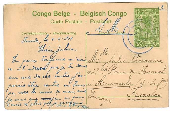 TANGANYIKA (Belgian Occupation) - 1917 5c illustrated PSC used at KIGOMA.  H&G 43a.