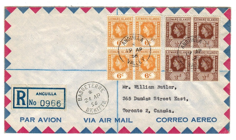 ANGUILLA - 1956 registered cover to Canada used at ANGUILLA/VALLEY.