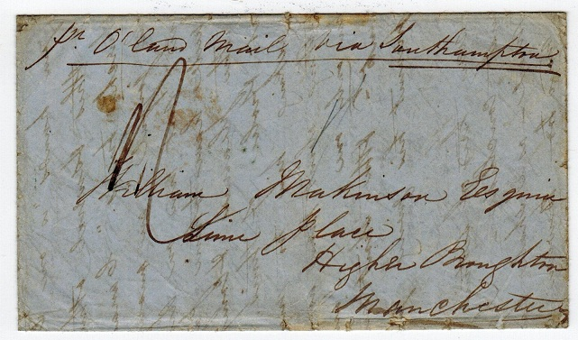 CEYLON - 1851 KANDY/STEAMER LETTER stampless entire.