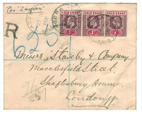 GOLD COAST - 1906 3d rate registered cover to UK used at ACCRA.