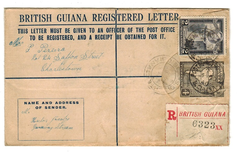 BRITISH GUIANA - 1939 4c grey RPSE used locally from POSTAL AGENCY PO.  H&G 11.