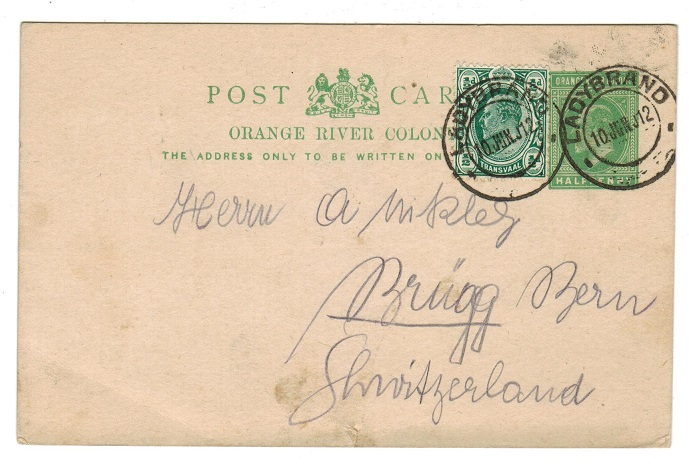 ORANGE RIVER COLONY - 1902 1d PSC uprated to with Transvaal 1/2d at LADYBRAND. H&G 40.