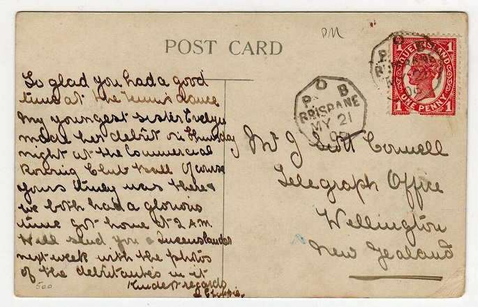 AUSTRALIA (Queensland) - 1906 1d rate postcard with