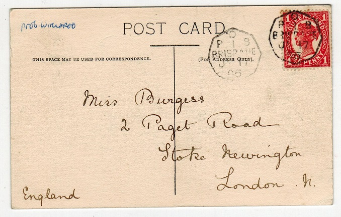 AUSTRALIA (Queensland) - 1905 1d rate postcard with